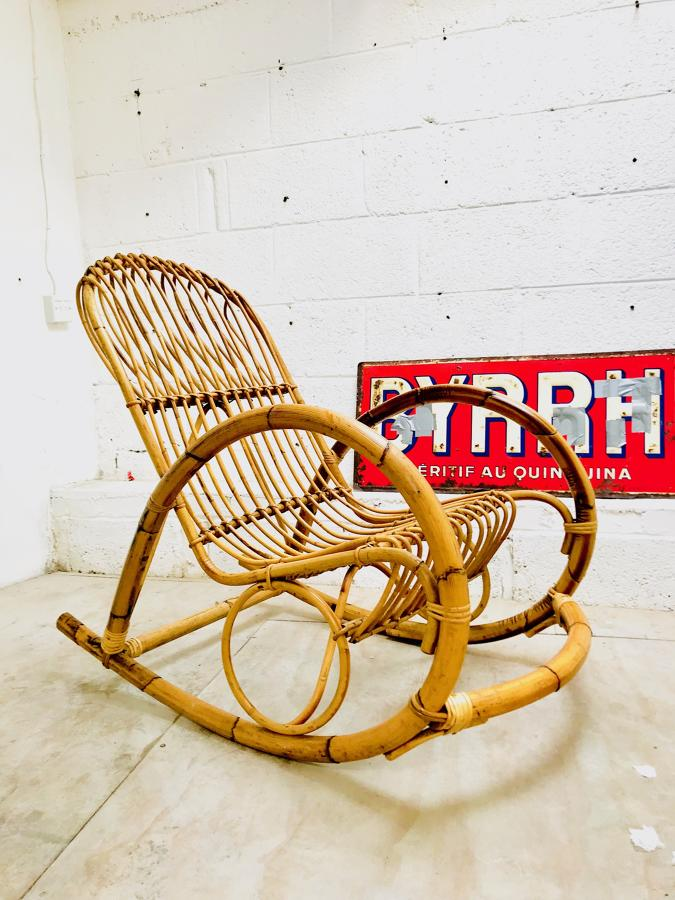 Mid-Century bamboo porch chair