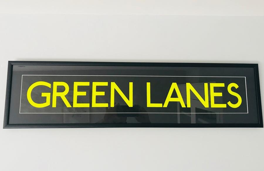 Framed Vintage Bus Blind - Green Lanes!