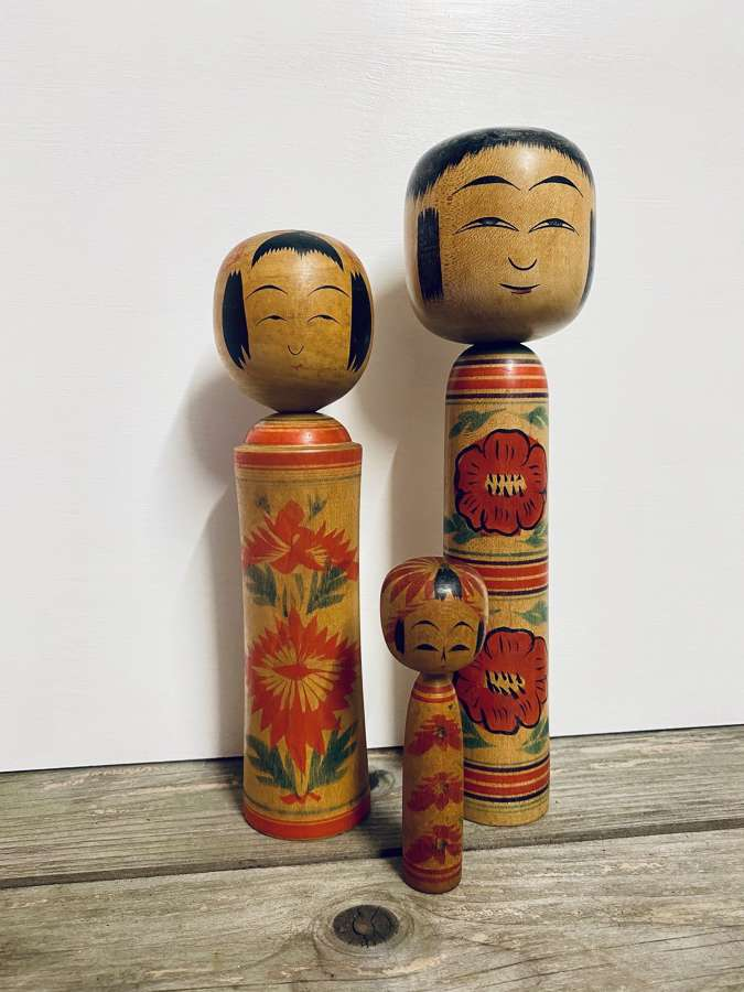 Japanese Kokeshi Doll Family of three